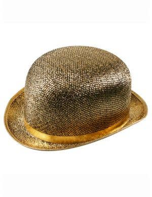 Sparkly Gold Adult's Bowler Costume Accessory Hat