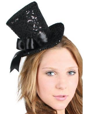 Burlesque Black Sequined Mini Top Hat With Bow