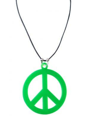 60's Hippie Green Peace Sign Costume Necklace