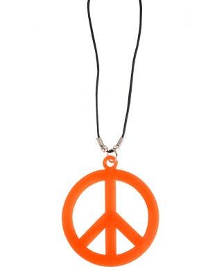 Neon Orange Adults 1970's Peace Sign Necklace