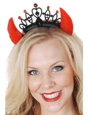 Red Devil Horns on a Black Tiara Headband