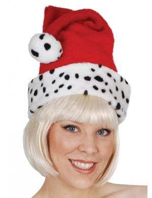 Dalmatian Print Plush Santa Hat
