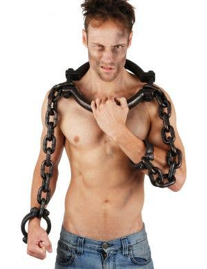 Large Antique Style Convict Neck and Hand Shackles