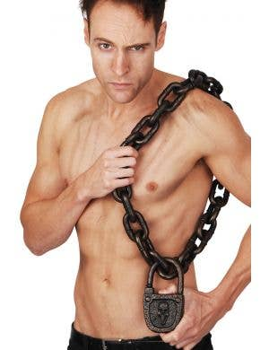Rusty Looking Medieval Chain with Skull Padlock