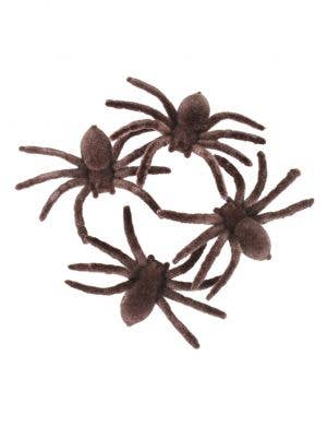 Flocked Brown Spider Halloween Decorations 4 Pack