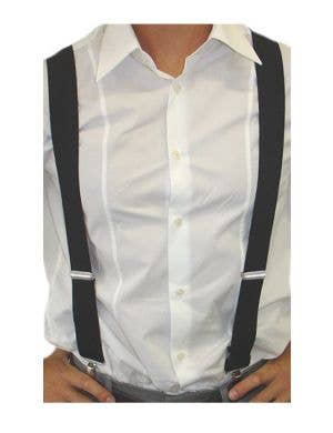 Stretchy Adult's Black Suspenders Costume Accessory