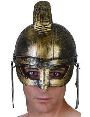 Antique Gold Roman Gladiator Costume Helmet