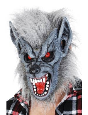 Creepy Grey Latex Werewolf Mask with Attached Fur