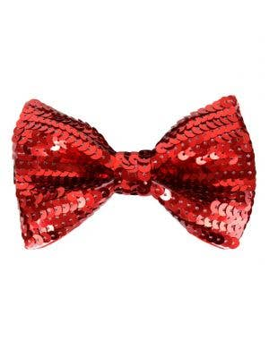 Red sequined adults costume bow tie