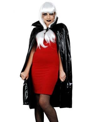 Shiny PVC Black Vampire Fancy Dress Cape