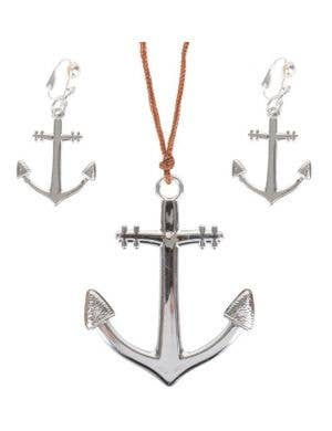 Anchor Necklace and Earrings Jewellery Set