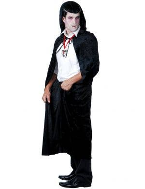 Black Velvet Halloween Cape with Attached Hood