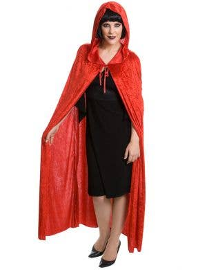 Red Velvet Long Halloween Cape with Attached Hood
