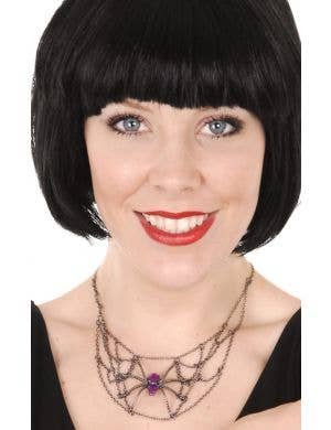 Black Spiderweb Necklace with Purple Gems Costume Accessory