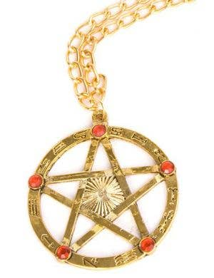Gold Pentagram Halloween Costume Necklace