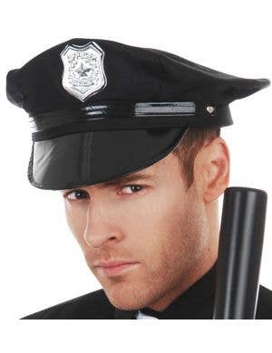 Men's Basic Black Cop Costume Hat