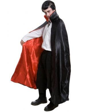 Black and Red Satin Vampire Cape with Stand Up Collar
