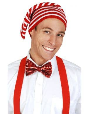 Red and White Striped Knit Christmas Elf Hat