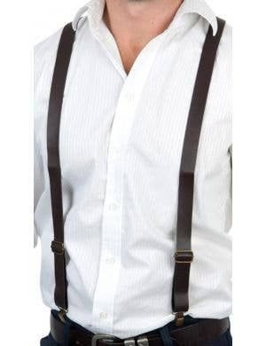 Vintage Adult's Brown Faux Leather Costume Accessory Suspenders