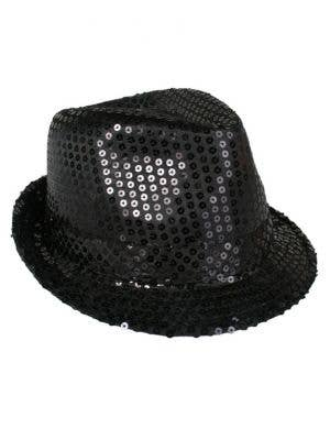 Sequined Black Gangster Fedora Hat