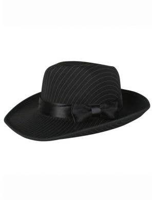 1920's Men's Black Gangster Fedora Hat with Pinstripes