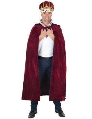 Men's Long Burgundy Medieval King Costume Cape