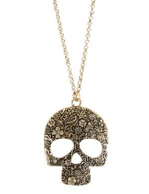 Day of the Dead Brass Sugar Skull Costume Necklace