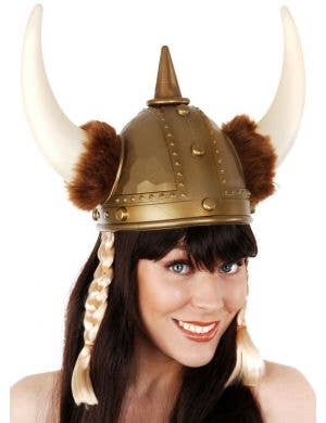 Nordic Warrior Gold Viking Helmet with Plaits