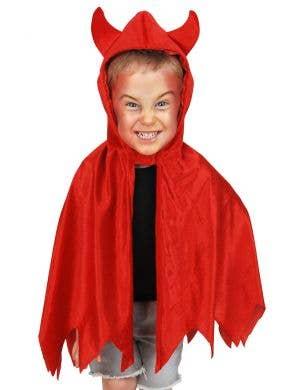 Kids Red Velvet Hooded Devil Halloween Costume Cape