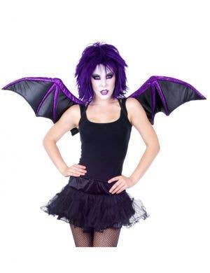 Gothic Bat Black and Purple Costume Wings