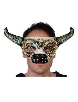 Venetian Bull and Horns Green and Gold Masquerade Mask