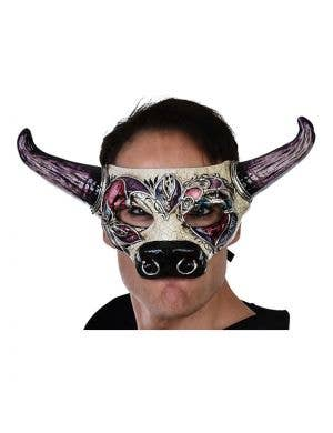 Halloween Bull Mask with Green Horns Main Image