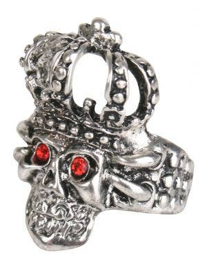 Large Silver Royal Skull Costume Ring Accessory