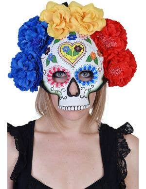 Sugar Skull Heart Women's Full Face Flower Mask