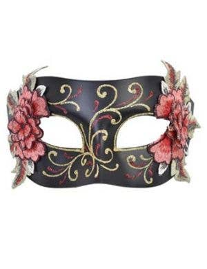 Decorative Floral Women's Black Masquerade Mask with Glitter