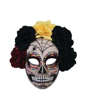 Full Face White Day of the Dead Mask With Spiderwebs, Black Red And Yellow Flowers