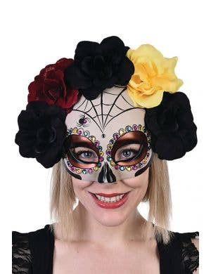 Half Face White Day of the Dead Mask With Spiderwebs, Black Red And Yellow Flowers