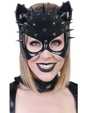Black Spiked Catwoman Cat Ears Face Mask
