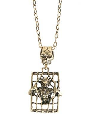 Halloween Skeleton Trapped in a Cage Brass Costume Necklace