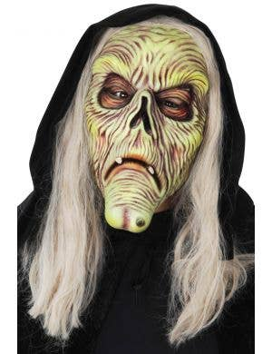 Wrinkled Old Witch Latex Costume Mask Accessory with Hood
