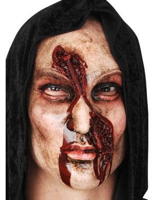 Latex Human Face Mask with Bloody Bolt Wound