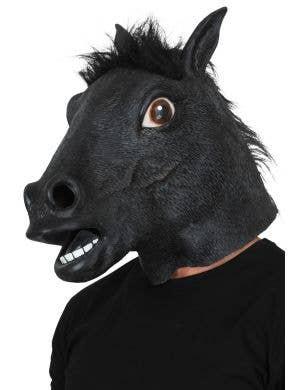 Men's Black Horse Novelty Full Head Latex Costume Mask