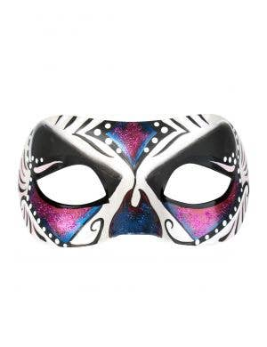 Pink Blue and White Day of the Dead Masquerade Mask For Adult's