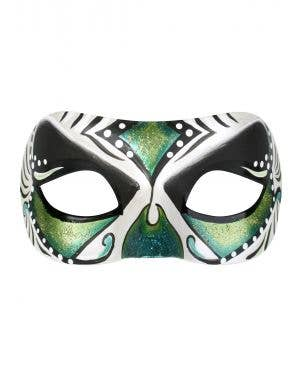 Adult's Green, Blue and White Day of the Dead Masquerade Mask