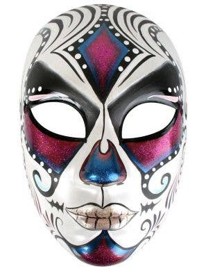 Pink, Blue and White Full Face Masquerade Mask