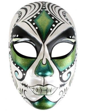 Green, Blue and White Full Face Masquerade Mask