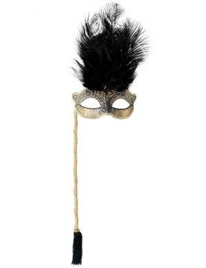 Josephine Black and Gold Masquerade Mask on Stick