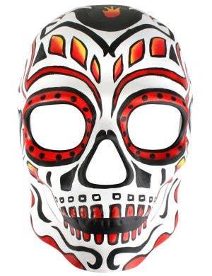 Orange Painted Sugar Skull Masquerade Mask