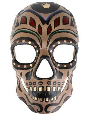 Brown Painted Sugar Skull Masquerade Mask