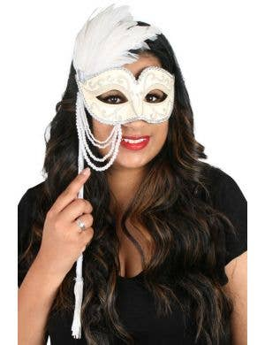 Jenna Hand Held Cream Masquerade Mask